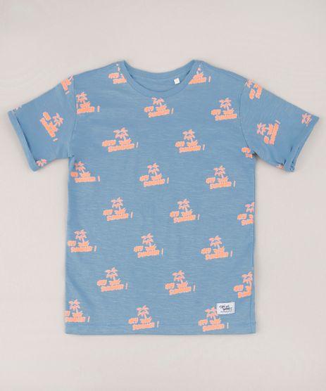 Camiseta-Infantil--Hey-Summer---Neon-Manga-Curta-Azul-9732781-Azul_1