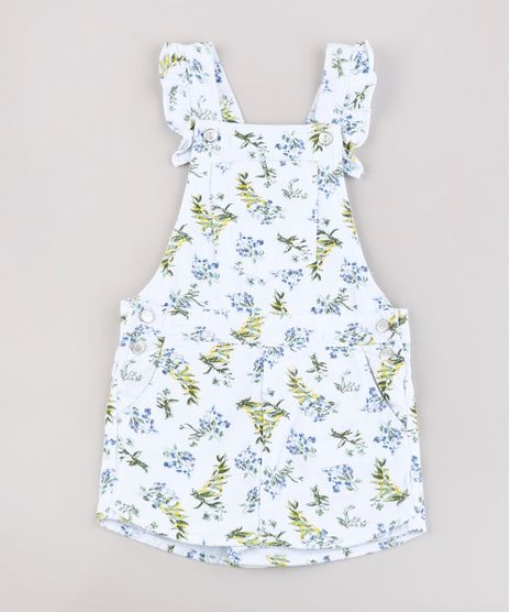 jardineira-Short-Saia-de-Sarja-Infantil-Estampada-Floral-com-Babado-Branca-9822541-Branco_1