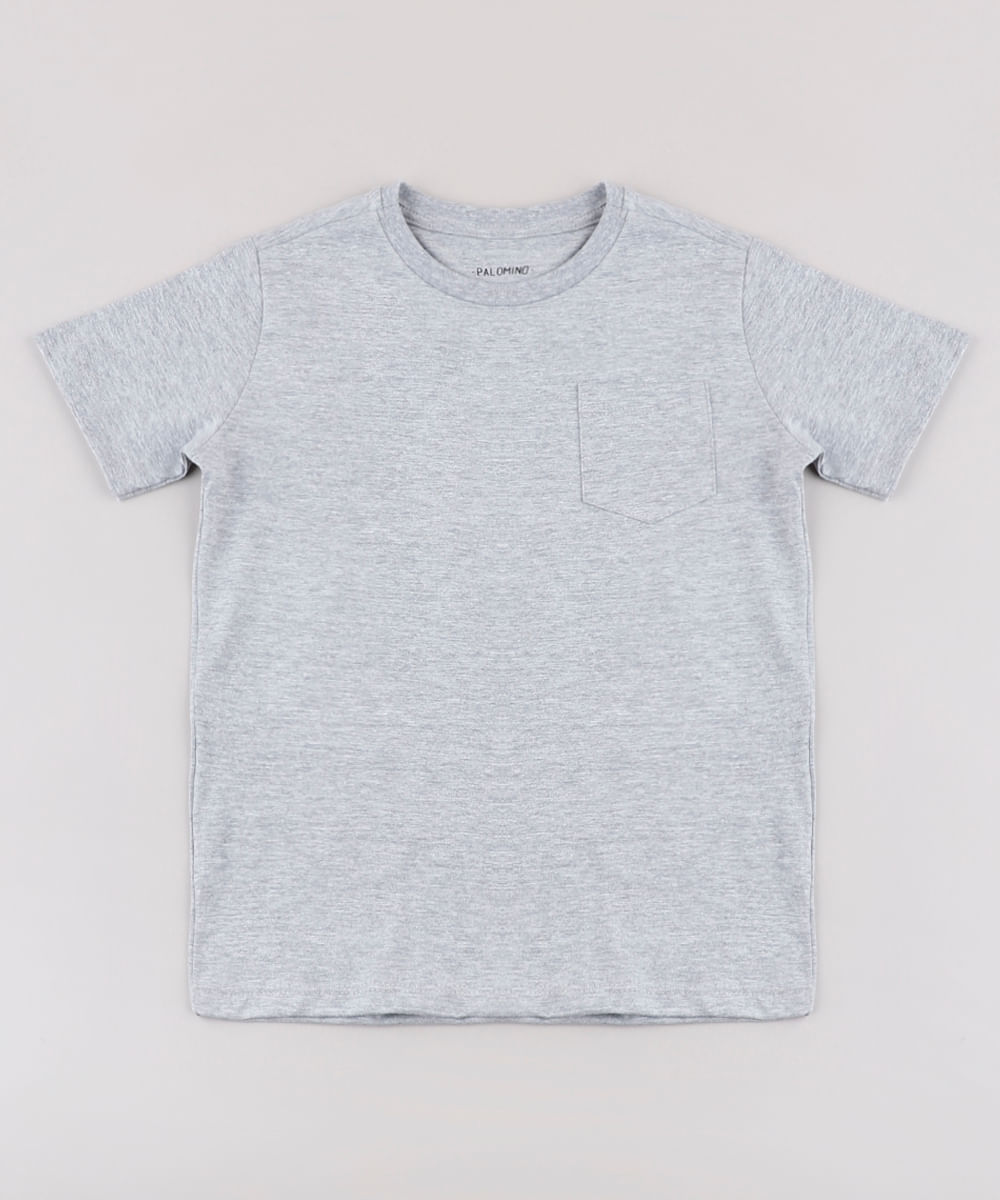 Camiseta Infantil Básica com Bolso Manga Curta Cinza Mescla