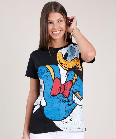 Blusa-Feminina-Pato-Donald-Ampla-Manga-Curta-Decote-Redondo-Preta-9850852-Preto_1