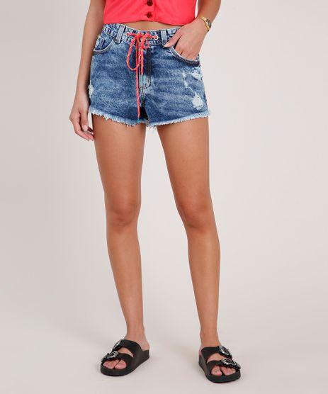 Short-Jeans-Feminino-Boy-Cintura-Media-com-Rasgos-e-Cordao--Azul-Medio-9833797-Azul_Medio_1