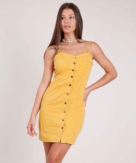 Menor preço em Vestido de Sarja Feminino Curto com Botões Alça Fina Mostarda - PP