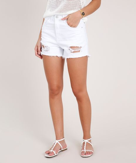 Short-de-Sarja-Feminino-Cintura-Super-Alta-Destroyed-Branco-9751341-Branco_1