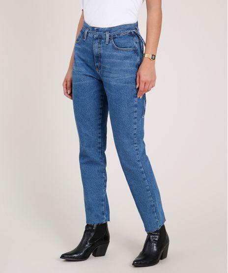 Calca-Jeans-Feminina-Mom-Clochard-Cintura-Super-Alta-com-Cordao-para-Amarrar-Azul-Escuro-9833816-Azul_Escuro_1