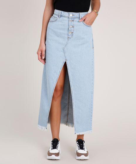 Saia-Jeans-Feminina-Longa-com-Fenda-e-Barra-Desfiada-Azul-Claro-9834750-Azul_Claro_1