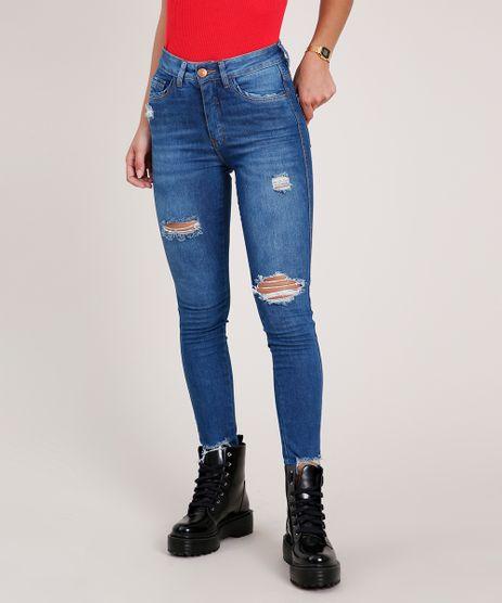 Calca-Jeans-Feminina-Super-Skinny-com-Rasgos-Cintura-Alta-Azul-Escuro-9835347-Azul_Escuro_1