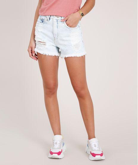 Short-Jeans-Feminino-Destroyed-Cintura-Super-Alta--Azul-Claro-9703517-Azul_Claro_1