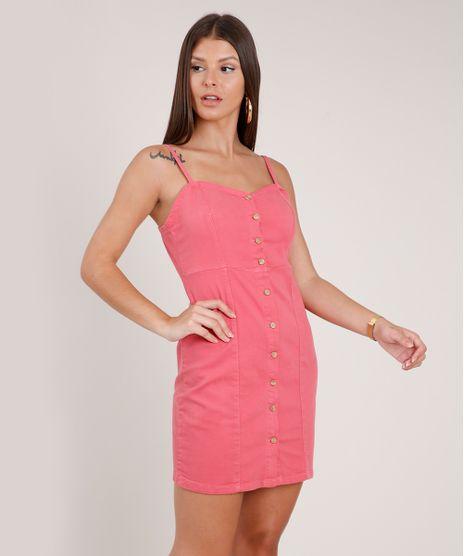 Vestido-de-Sarja-Feminino-Curto-com-Botoes-Alca-Fina-Coral-9831919-Coral_1