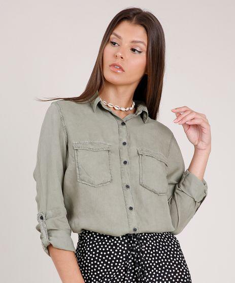 Camisa-Feminina-com-Bolsos-e-Martingale-Manga-Longa-Verde-Militar-9820777-Verde_Militar_1