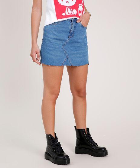Saia-Jeans-Feminina-Curta-com-Barra-a-Fio-Azul-Medio-9764587-Azul_Medio_1
