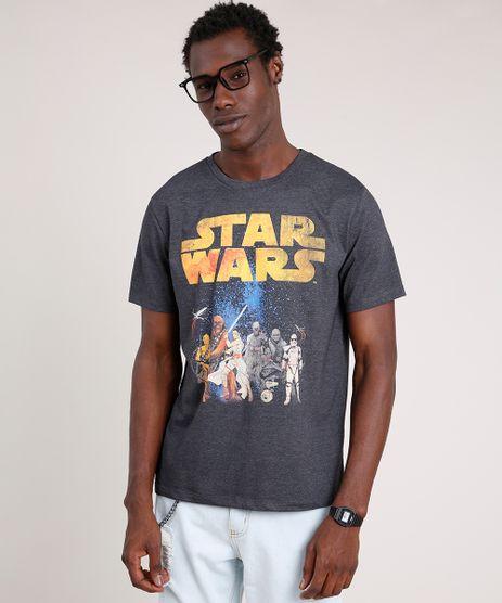 Camiseta-Masculina-Star-Wars-Manga-Curta-Gola-Careca-Cinza-Mescla-Escuro-9737537-Cinza_Mescla_Escuro_1