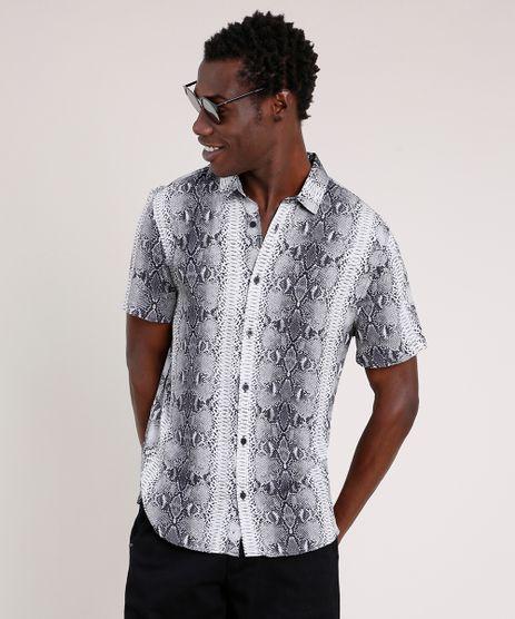 Camisa-Masculina-Tradicional-Estampada-Animal-Print-Cobra-Manga-Curta--Cinza-9854618-Cinza_1