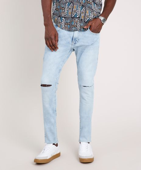 Calca-Jeans-Masculina-Skinny-com-Rasgos-Azul-Claro-9791188-Azul_Claro_1