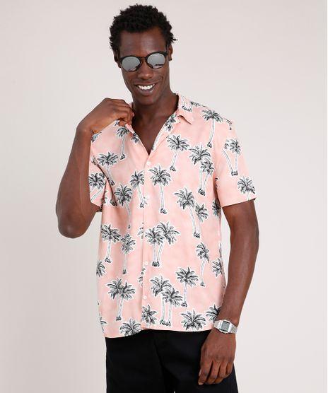 Camisa-Masculina-Tradicional-Estampada-de-Coqueiros-Manga-Curta--Rosa-Claro-9729642-Rosa_Claro_1