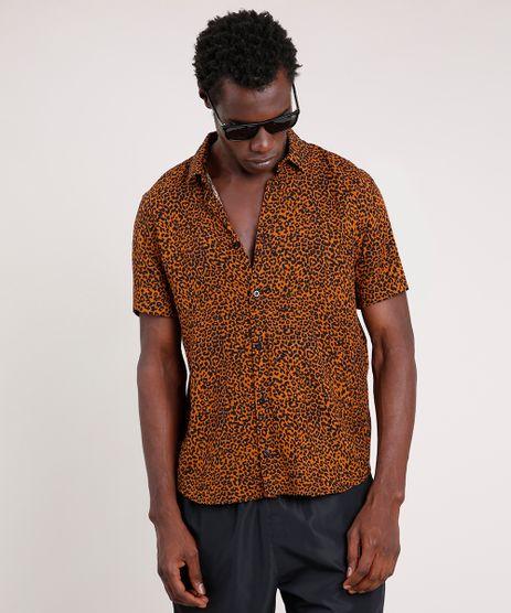Camisa-Masculina-Tradicional-Estampada-Animal-Print-Onca-Manga-Curta--Marrom-9854617-Marrom_1