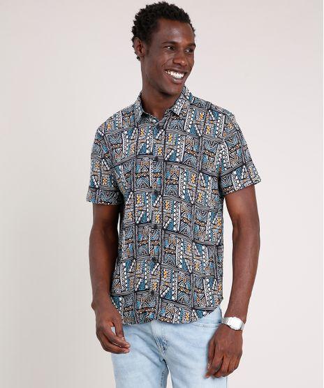 Camisa-Masculina-Tradicional-Estampada-Etnica-Manga-Curta--Preta-9821750-Preto_1