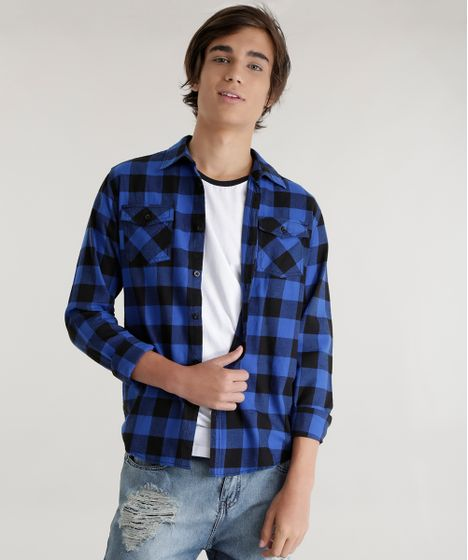 413802fe4c Camisa-Xadrez-Azul-8447057-Azul 1 ...