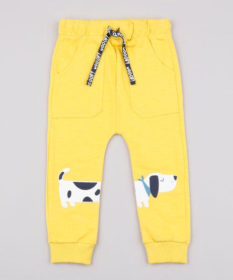 Calca-Infantil-em-Moletom-Cachorro--Wooof--com-Bolsos-Amarelo-9676214-Amarelo_1