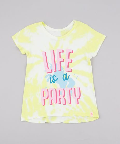 Blusa-Infantil-Estampada-Tie-Dye--Life-is-a-Party--Manga-Curta-Amarelo-9748629-Amarelo_1