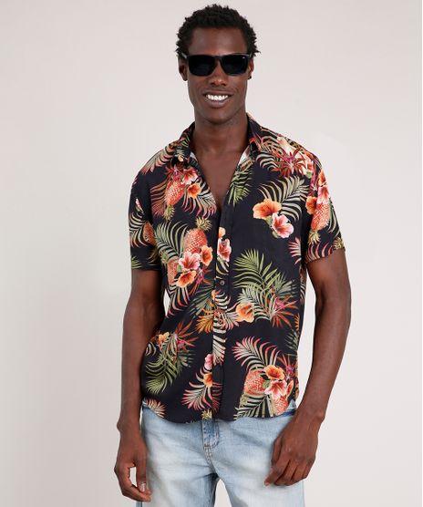 Camisa-Masculina-Blueman-Tradicional-Estampada-de-Passaros-e-Folhagens-Manga-Curta-Preto-9727433-Preto_1