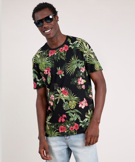 Camiseta-Masculina-Blueman-Tal-Pai-Tal-Filho-Folhagem-Tropical-Manga-Curta-Gola-Careca-Preto-9702026-Preto_1