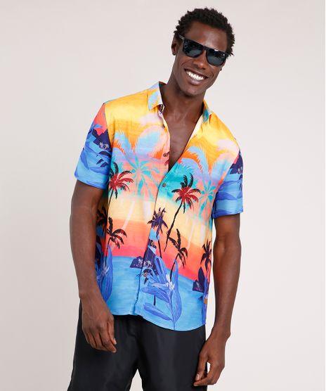 Camisa-Masculina-Blueman-Tradicional-Estampada-Poente-Tropical-Manga-Curta-Azul-9727430-Azul_1