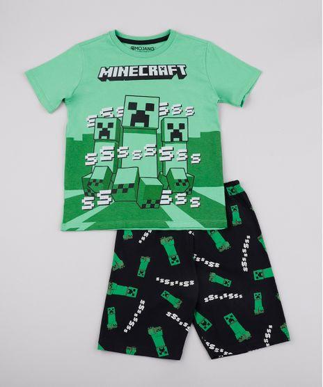 Pijama-Infantil-Minecraft-Manga-Curta-Verde-9762482-Verde_1