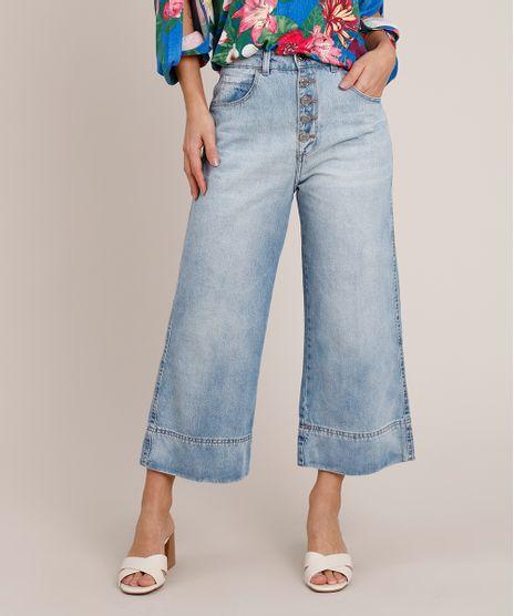 Calca-Jeans-Feminina-Pantacourt-Cintura-Super-Alta-com-Botoes-Azul-Claro-9835415-Azul_Claro_1