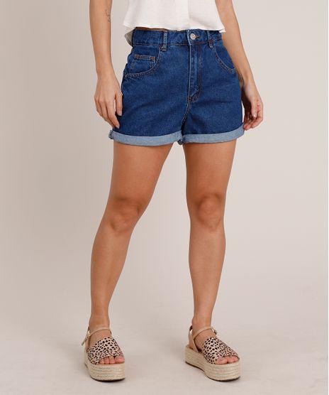 Short-Jeans-Feminino-Mom-Cintura-Super-Alta-com-Barra-Dobrada-Azul-Escuro-9834582-Azul_Escuro_1