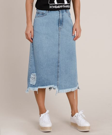 Saia-Jeans-Feminina-Midi-com-Rasgo-e-Fenda-Barra-Desfiada-Azul-Claro-9837581-Azul_Claro_1
