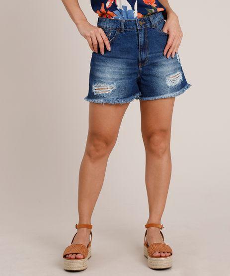 Short-Jeans-Feminino-Destroyed-Cintura-Super-Alta-com-Barra-Desfiada-Azul-Escuro-9835418-Azul_Escuro_1