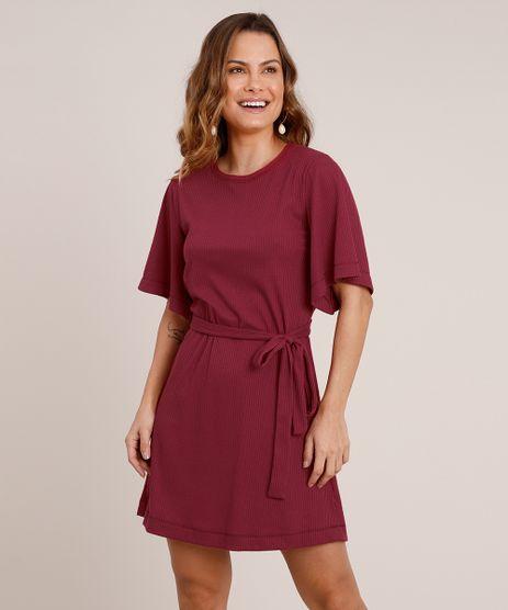 Vestido-Feminino-Curto-Canelado-com-Faixa-para-Amarrar-Manga-Curta-Vinho-9706143-Vinho_1
