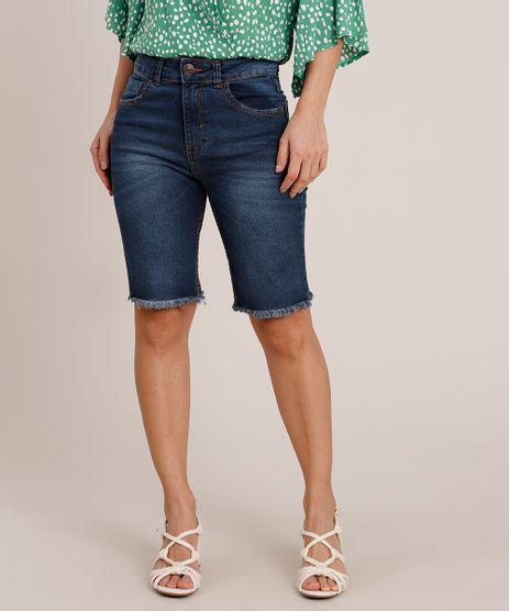 Bermuda-Jeans-Feminina-Ciclista-Cintura-Alta-com-Barra-Desfiada-Azul-Escuro-9840547-Azul_Escuro_1