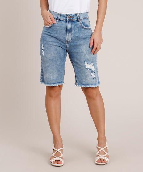 Bermuda-Jeans-Feminina-Ciclista-Cintura-Super-Alta-Destroyed-Azul-Medio-9840548-Azul_Medio_1