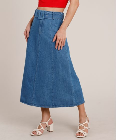 Saia-Jeans-Feminina-Midi-Evase-com-Cinto-Azul-Medio-9831925-Azul_Medio_1