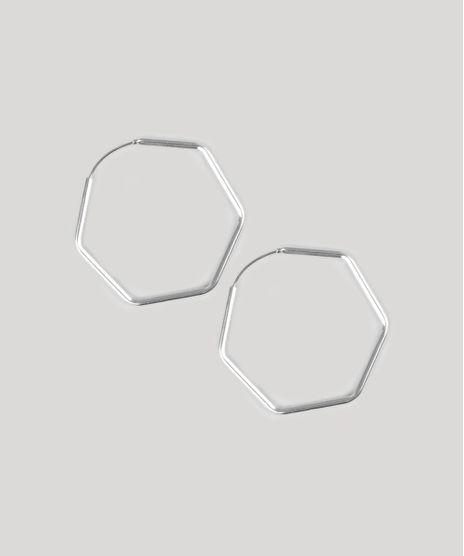 Brinco-Feminino-Folheado-de-Argola-Hexagonal-Prateado-9775037-Prateado_1