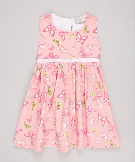 Vestido-Infantil-Estampado-de-Borboletas-com-Laco-Sem-Manga-Rosa-9740379-Rosa_1