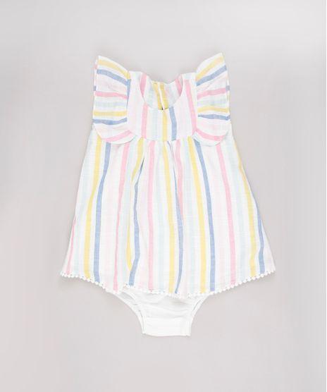 Vestido-Infantil-Listrado-com-Babado-Sem-Manga---Calcinha-Off-White-9688979-Off_White_1
