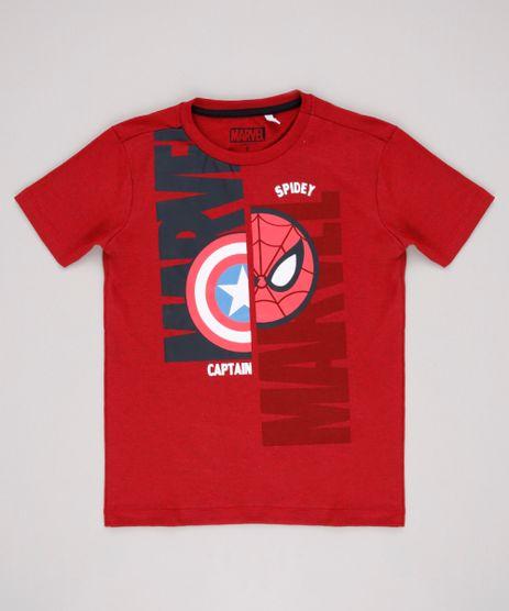 Camiseta-Infantil-Homem-Aranha-Capitao-America-Manga-Curta-Vermelha-9818712-Vermelho_1