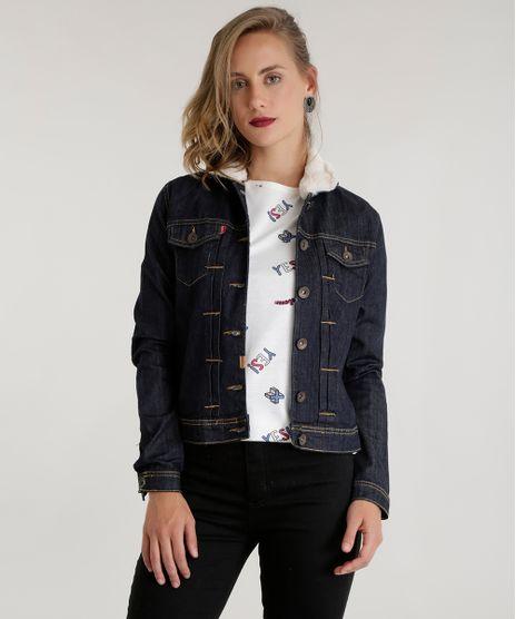 Jaqueta-jeans-com-Pelos-Azul-Escuro-8501784-Azul Escuro 1. Moda Feminina 2108072c82010