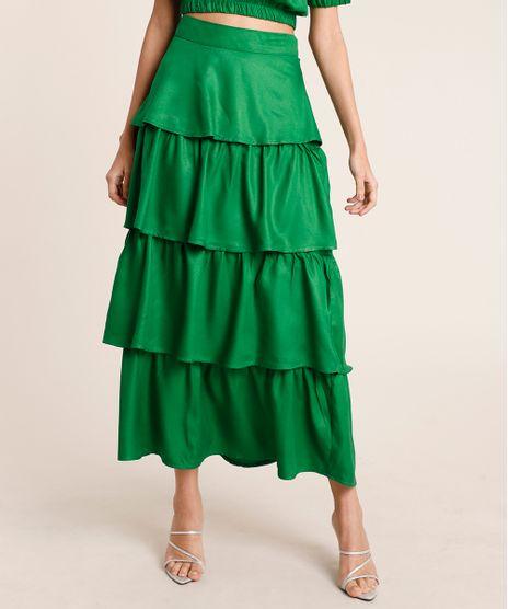 Saia-Feminina-Mindset-Midi-em-Camadas-Verde-9864762-Verde_1