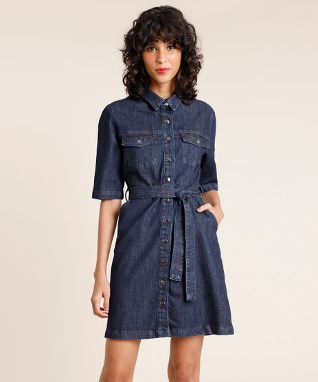 Vestido-Jeans-Feminino-Mindset-Curto-com-Faixa-para-Amarrar-Manga-Curta-Azul-Escuro-9891625-Azul_Escuro_1