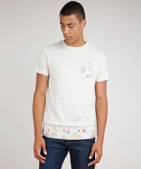 Camiseta-Masculina-Longa-com-Bolso-e-Recorte-Manga-Curta-Gola-Careca-Kaki-Claro-9780474-Kaki_Claro_1