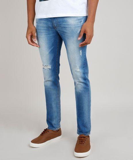 Calca-Jeans-Masculina-Skinny-com-Rasgos-Azul-Medio-9764307-Azul_Medio_1
