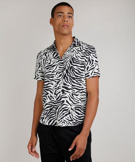 Camisa-Masculina-Tradicional-Estampada-Animal-Print-Zebra-Manga-Curta--Preto-9854619-Preto_1