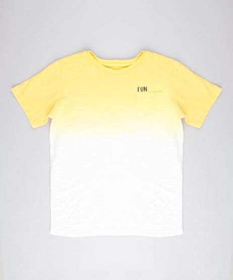 Camiseta-Infantil-Degrade--Fun--com-Bolso-Manga-Curta-Amarela-9758292-Amarelo_1