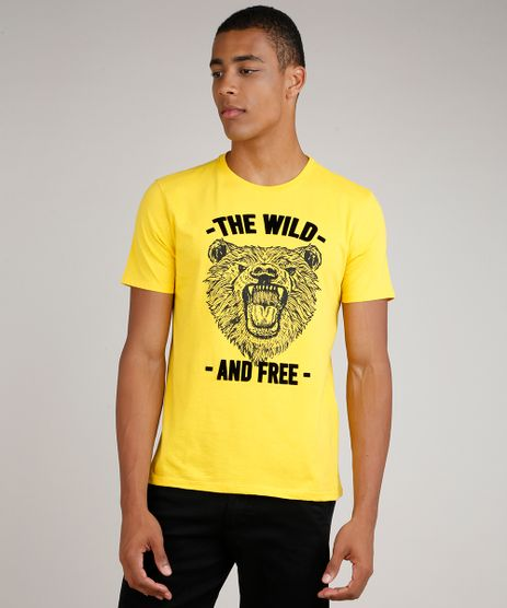 Camiseta-Masculina-Urso--The-Wild--Manga-Curta-Gola-Careca-Amarelo-9844426-Amarelo_1