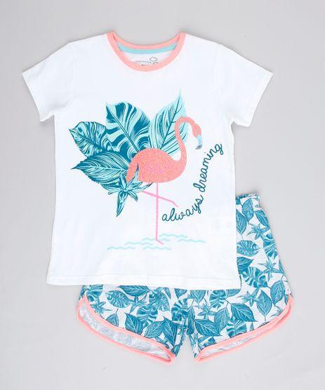 Pijama-Infantil-Flamingo-com-Glitter-Manga-Curta-Branco-9762479-Branco_1