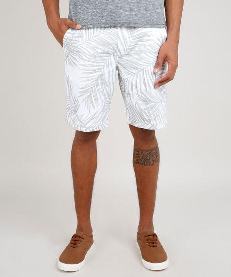 Bermuda-de-Sarja-Masculina-Relaxed-Estampada-de-Folhagens-com-Bolso-e-Cordao-Branco-9768032-Branco_1