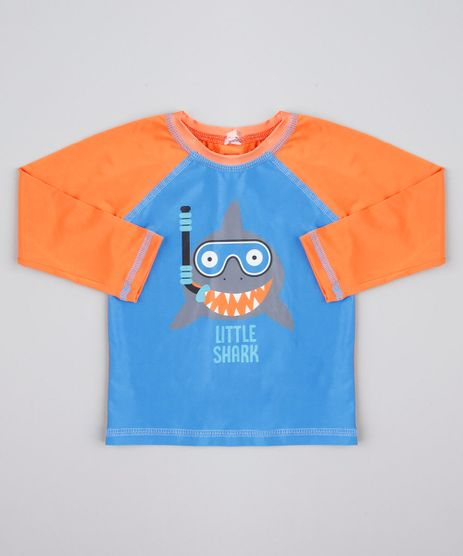 Camiseta-de-Praia-Infantil-Raglan-Tubarao--Little-Shark--Manga-Longa-Laranja-9667355-Laranja_1